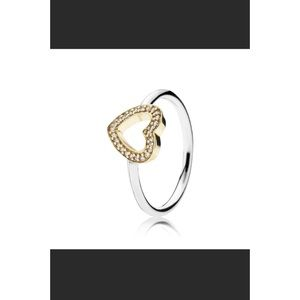 Pandora Two Tone Heart Ring